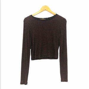 Zara Trafaluc Long Sleeved Cropped Shirt Black/Red